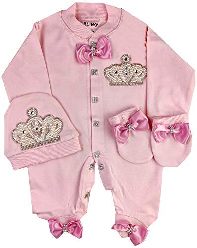 Baby Girl Newborn Royal Fancy Clothes Romper Suit Set, 0-3 and 3-6 Months