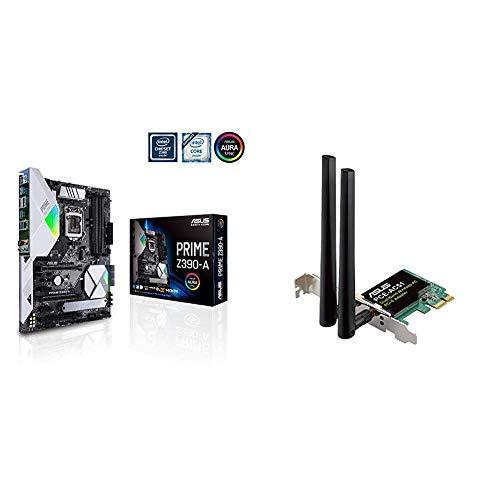 Asus PRIME Z390-A Intel ATX LGA 1151 Scheda Madre, AI Overclocking, DDR4 4266 MHz, Doppio M.2, HDMI, SATA 6Gb/s, USB 3.1 Gen 2 Type-C, Nero + Scheda di rete PCE-AC51