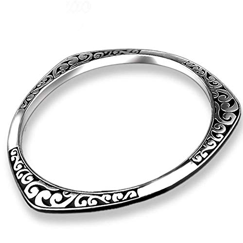 Fashion Thai Silver Bracelet Pattern Women Bracelet Jewelry Gift,Colour:Silver Bracelets Earrings Rings Necklaces (Color : Silver)