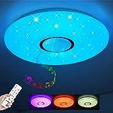 JDONG LED Deckenlampe mit Loutsprecher Sternenhimmel,dimmbar,IP44 Wasserfest für Badzimmer Schlafzimmer Kinderzimmer Wohnzimmer ohne App