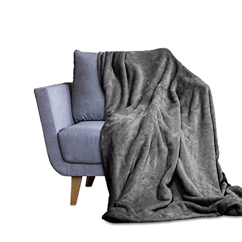 Throw Blanket for Couch & Bed - Decorative Size Fleece Blanket - Soft, Fuzzy, Cozy & Breathable - Plush Microfiber Home Decor (50x60,Grey)