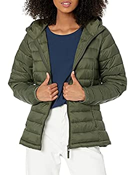 Amazon Essentials Women s Lightweight Long-Sleeve Full-Zip Water-Resistant Packable Hooded Puffer Jacket Olive Large