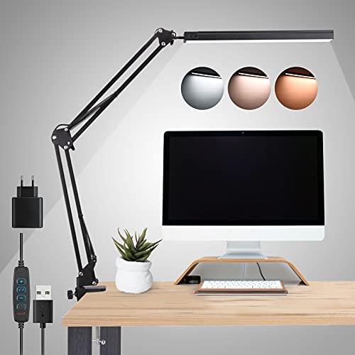 Lampada da Scrivania a LED, Luce di Lettura Protegge gli Occhi, Lampada da Tavolo con 3 Modalità a 10 Livelli di Luminosità Regolabili, Lampada Pieghevole per Lavoro con Funzione di Memoria