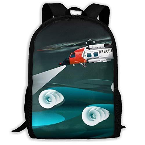 LVOE TTL Schulrucksack, Hubschrauber der Retter Linke Ansicht Rettungsfloß Palne Schultasche Student Stilvolle Unisex Canvas Rucksack Schultasche Rucksack Daypack Für Teen Kids