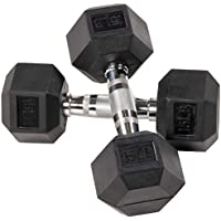Sporzon! Rubber Encased Hex Dumbbell in Pairs