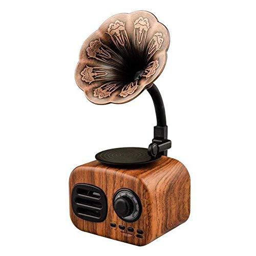 Retro Trompeta Estilo Vintage Radio Altavoz de Bluetooth Inalámbrico Estéreo Subwoofer Música Caja Madera Altavoces con Indicador LED, Soporte Fm Radio USB Tarjeta Tf para Teléfono - Dorado