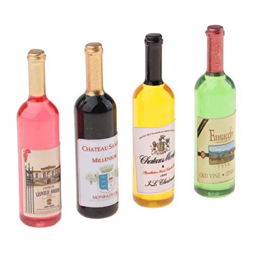 SM SunniMix 1/12 Juguete de Bebidas en Miniatura 4 Piezas Botella de Cóctel de Vidrio Decoración Accesorios de Casa de Muñecas para Niños Juego de Cocina