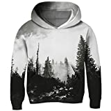 RAISEVERN Cool Forest Hoodies 3D All Over Printed Design Vibrant Costume Unisex Kids Funky Novelty Sweatshirt Hipster Pullover Hoody Clothes Casual Outfits Size XL 8-10 Years Old