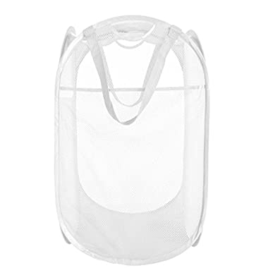 PRO-MART DAZZ Deluxe Mesh Pop-Up Laundry Hamper with Side Pocket and Handles, White