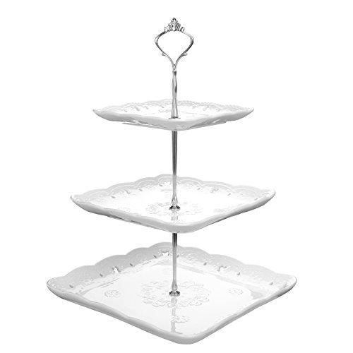 MALACASA, Serie Sweet.Time, Porzellan Etagere 3-stöckig 6,25/8,25/10 Zoll ServierStänder Cupcake Ständer Dessert Halter Weiß