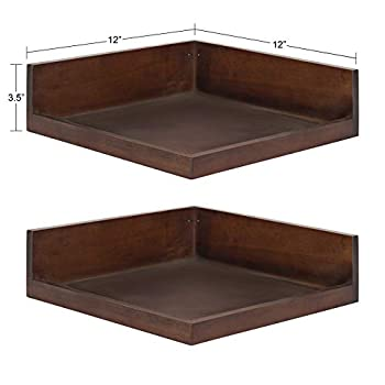 Kate and Laurel Levie Modern Floating Corner Wood Wall Shelves 12 x 12 Inches 2 Pack Walnut Brown