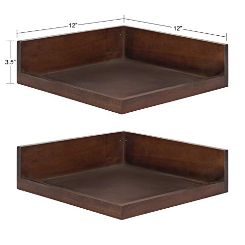 Kate and Laurel Levie Modern Floating Corner Wood Wall Shelves, 12 x 12 Inches, 2 Pack, Walnut Brown