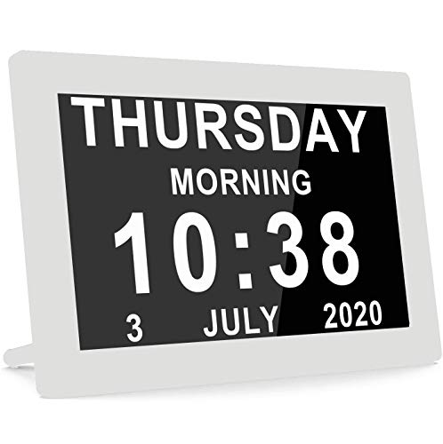 [2020 Upgraded] Digital Calendar Alarm Day Clock Large AM/PM Function, for Impaired Vision People, Age Seniors, The Dementia, for Desk, Wall Mounted-...