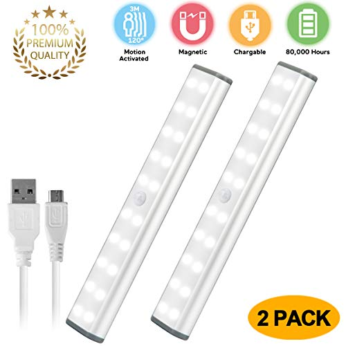 LED Motion Sensor Cabinet Light,Under Counter Closet Lighting, 20 LED Wireless USB Rechargeable Kitchen Lights,Battery Powered Operated Light, Magnetic Removable Stick On Lights for Wardrobe,Cupboard