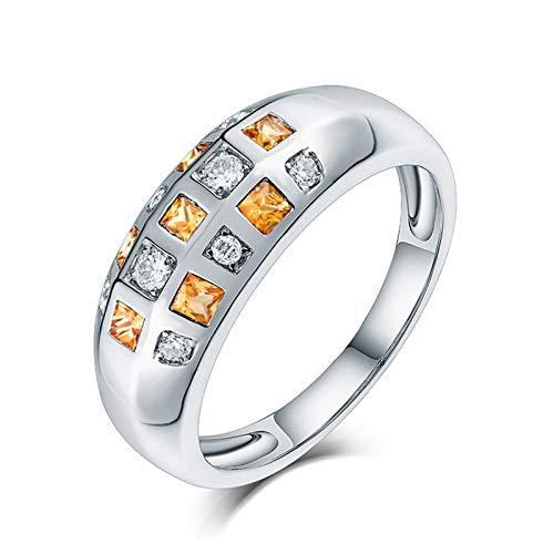 AnazoZ Anillos Mujer Zafiro,Anillo Oro Blanco Mujer 18K con Diamantes Plata Amarillo Redondo Zafiro Amarillo 0.36ct Diamante 0.16ct Talla 16