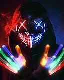 Halloween Mask Skeleton Gloves Set, 3 Modes Light Up Scary LED Mask...