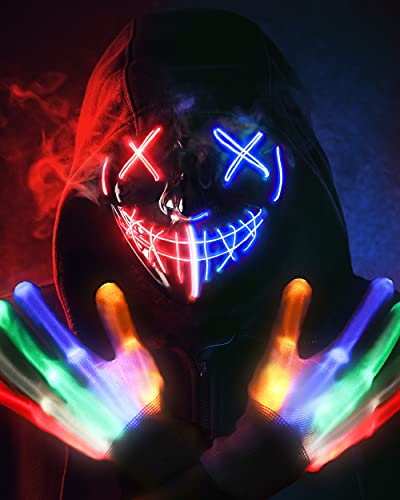 Halloween Mask Skeleton Gloves Set, 3 Modes Light Up Scary LED Mask with LED Glow Gloves , Halloween Decorations Anonymous Mask, Halloween Costumes glow purge Masks Gift for Boys Girls