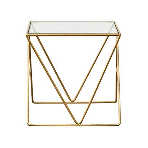 CSQ Salontafel, gehard glas, voor huishouden, woonkamer, ijzeren kunst, vierkant, gouden tabel, rechthoekig, kleine theetafel 46 x 46 x 45 cm