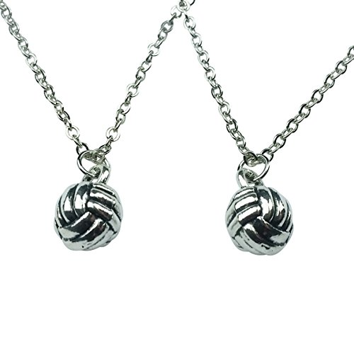 Art Attack Silvertone Delicate Mini Sports Volleyball BFF Best Friends Forever Matching Pendant Necklace Gift Set