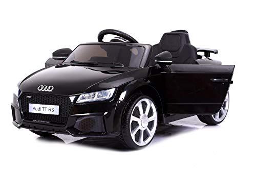 RIRICAR TT RS, Negro, Licencia Original, Batería accionada, Puertas de la Abertura, Asiento de Cuero, Motor 2X, Batería de 12 V, 2.4 GHz teledirigido, Ruedas Suaves de EVA, Arranque Suave