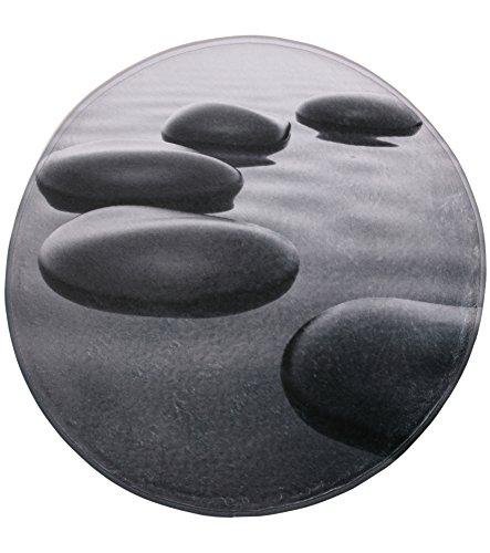 Tapis de Bain Rond, Grande sélection de Beaux Tapis de Bain, de Haute qualité, très Doux, sèche Rapidement, Lavable, 80 cm (Pierres Noires, 80 cm)