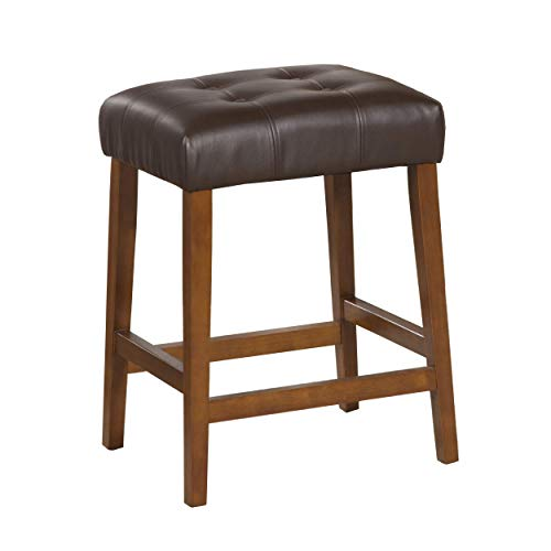 HomePop Leatherette Square Tufted Backless Counter Height Stool, 24-inch, Chocolate Brown