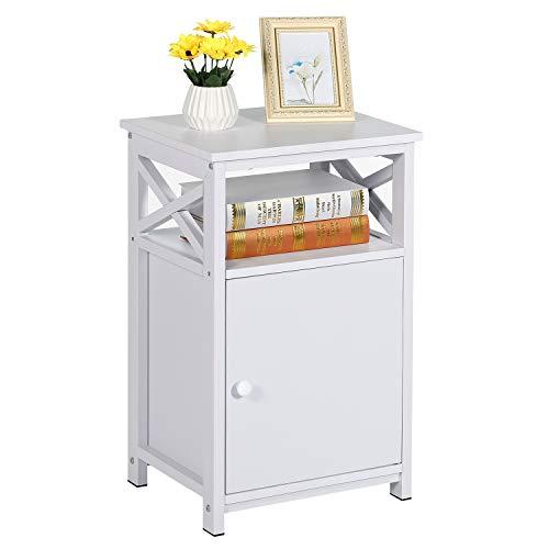 VECELO Nachttisch Nachtkommode mit Schublade Ablage Beistelltisch im Industrie-Design Sofatisch Nachtschrank (Weiß-Ⅱ)