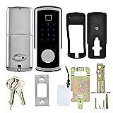 XIIQIUCS Keyless Entry Fingerprint Door Lock with Bluetooth, Smart Biometric Dead-Bolt Door-Lock with Keys Key-pad for Homes Security, No Handle Auto Lock,