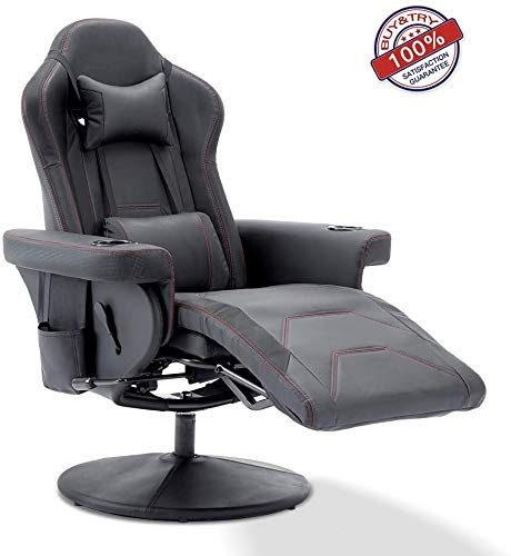 MOOSENG Video Gaming Chair Leather High Back Ergonomic 135 Degree Adjustable Swivel with Footrest,Headrest and Lumbar Support, Black chairs Dining Features Home Kitchen