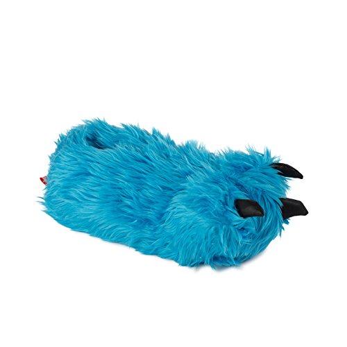 funslippers Tierhausschuhe Herren Hausschuhe Puschen Pantoffeln Schlappen Krümel Monster Tatze Blau Plüsch Warm Gepolstert Sneakersohle XL 45/47 EU