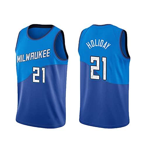 USSU 2021 BǔCKS HǒLǐDǎY 21# Estilo sin Mangas de Baloncesto Jersey Camisetas para Hombre Ropa de Baloncesto Jersey Casual Top Jersey, Fox Fit, Ocio Walking XS
