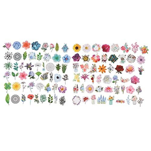 SOLUSTRE 100 Piezas de Pegatinas de Flores Impermeables Pegatinas Adhesivas Florales
