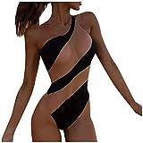YANFANG Traje De BañO Una Pieza Playa Bikini Contraste Costura Malla Sexy A Rayas para Mujer,Ropa del Remiendo La Gasa Raya Atractiva Las Mujeres,BrasileñOs Trajes Tie Dye PatróN Floral,Negro,M