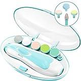 Lima de uñas eléctrica para bebés - Cortadora de uñas eléctrica para bebés 6 en 1 set con luz frontal LED para uñas y dedos de los pies de niños recién nacidos y niños pequeños (azul)