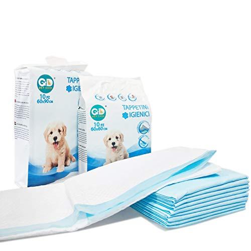 GATTO&DOG Tappetini igienici per Cani, Gatti e Animali Domestici, traversine Super assorbenti e Anti Odore 60X60 cm (50 PZ.)