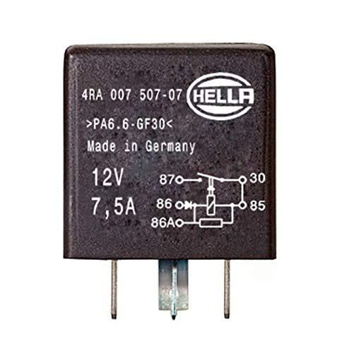 HELLA 4RA 007 507-081 Relé, corriente de trabajo - 12V - 4polos - Diagrama de circuito: X - ID conector: X - Contacto de cierre - negro - sin soporte