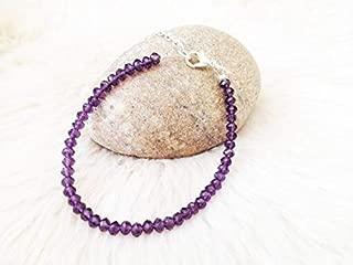 Beaded Glass Amethyst Bracelet. UK Jewellery. Bracelet on a Cute 4mm by Gemswholesale