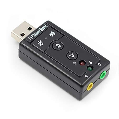 aixu 7.1 Tarjeta De Sonido USB Externa USB A Conector 3.5Mm Adaptador De Audio Digital para Auriculares Negro