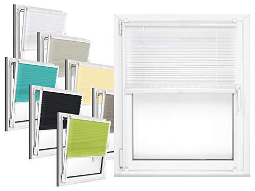 npluseins Plissee - vormontiert und mit Klemmfixierung am Fensterahmen - kinderleichte 3-Step Montage, ca. 50 x 130 cm, weiß
