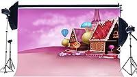HDビニール10x7ft女の子の誕生日おめでとう背景ジンジャーブレッドハウスの背景おとぎ話キャンディロリポップ熱気球漫画写真の背景ベビーシャワープリンセスフォトスタジオ小道具766