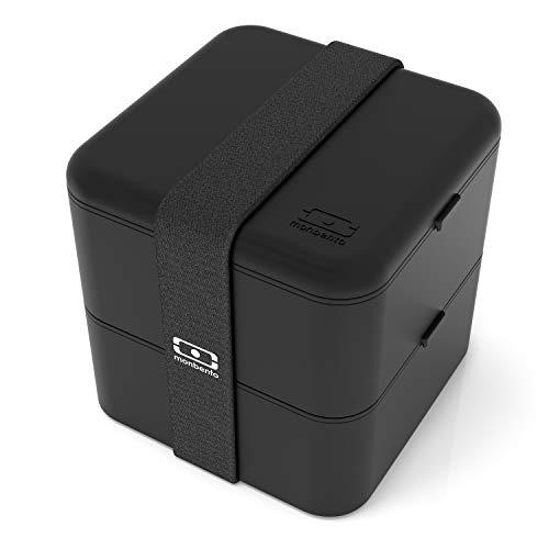 monbento - MB Square Noir bento box - Lunch box hermétique 2 étages - Boîte repas idéale pour le travail/école - sans BPA - durable et sûre