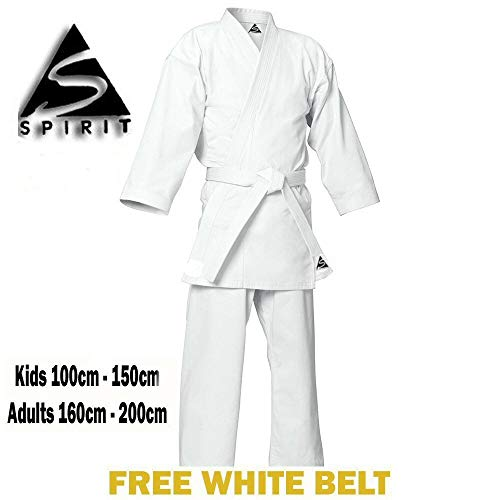 Karate 9oz 100% cotón Uniforme de Karate blanco (1/140cm)
