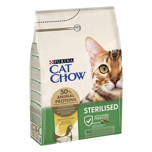 Purina Cat Chow Chat Stérilisé Adulte avec NaturiumTM - Riche en poulet - 3 kg - Croquettes pour chat