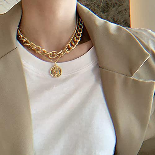 N/A Colgante de Collar de Mujer Collares de Cadena Cubana Gruesa con Colgante de Moneda de Retrato Vintage de Estilo Callejero de Doble Capa para Mujer, Collar con Gargantilla para Hombres
