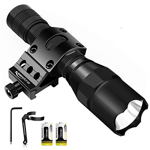 Tactical Flashlight with Picatinny Rail Mount, LED Weapon Light 800 Lumen Waterproof Tactical Flash Light for Outdoor Shooting Hunting Camping, Include with CR123A Lithium Battery and Portable Clip