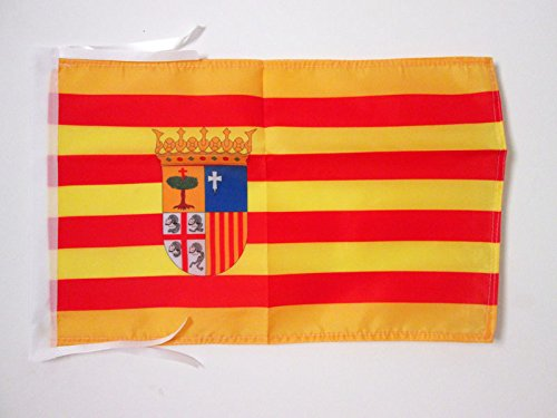 AZ FLAG Bandera de ARAGÓN 45x30cm - BANDERINA ARAGONESA 30 x 45 cm cordeles