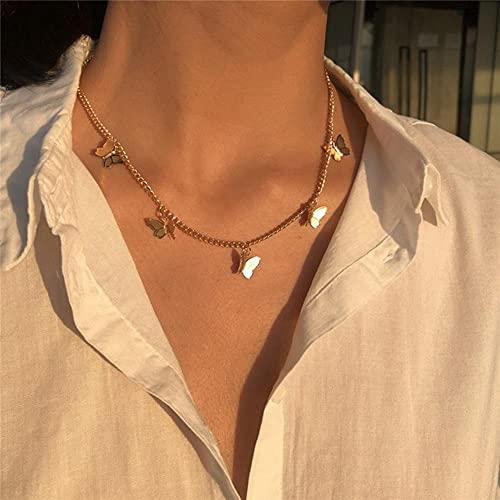 Nueva cadena de doble capa, collar gargantilla de Color dorado para mujer, collar con colgante de perlas de estilo coreano, joyer¨ªa de moda, Collar-43550