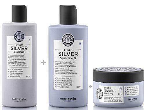 Maria Nila Sheer Silver Set - Shampoo 350 ml + Conditioner 300 ml + Masque/Maske 250 ml