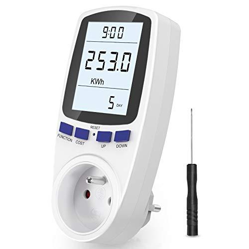 Gifort Wattmètre Prise, Compteur d énergie AC 185V ~ 264V Compteur de consommation d énergie, Prise de Moniteur d utilisation de l électricité avec écran LCD (Tarif Unique)