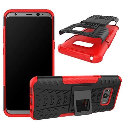 Capa Capinha Anti Impacto Para Samsung Galaxy S8+ Plus Tela6.2Case Armadura Hybrid Reforçada Com Desenho De Pneu - Danet (Preto com Vermelho)